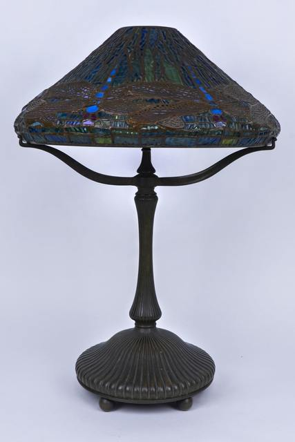 Tiffany Studios Bronze Dragonfly Table Lamp 16 Inch Artsy