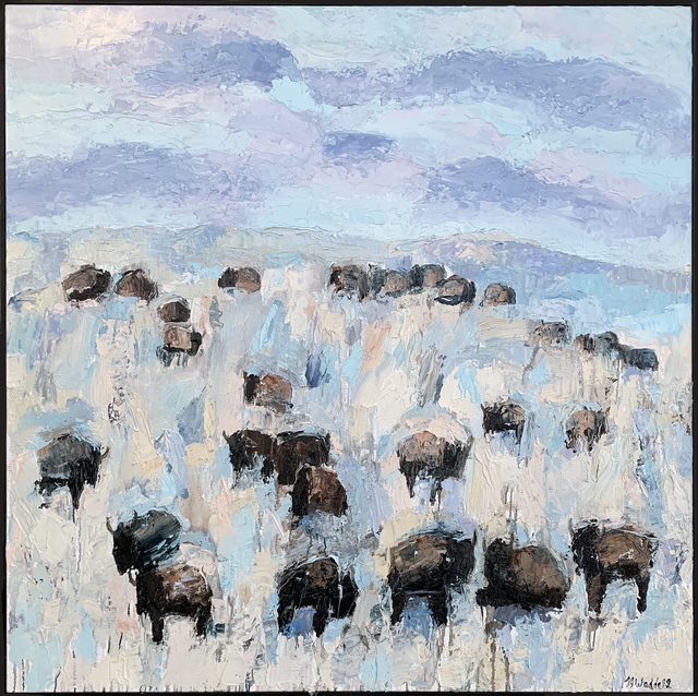 Theo Waddell, 'Ruby Valley Buffalo ', 2020, Painting, Oil and encaustic on canvas, Gail Severn Gallery