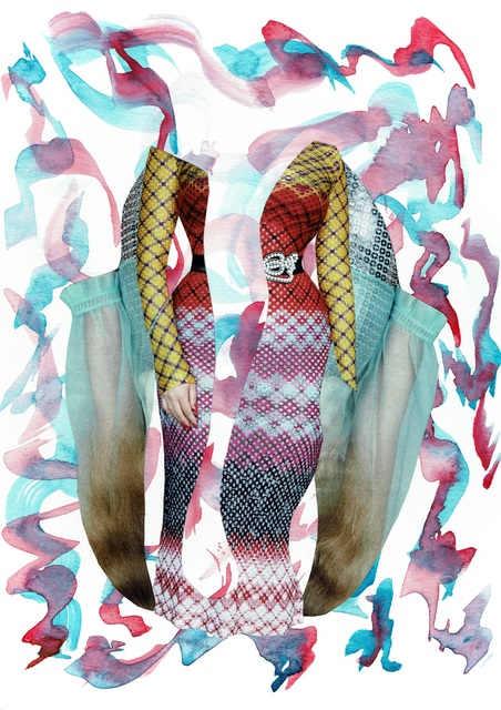 Laura Dunkin-Hubby, 'Dark Pink & Aqua', 2017, Drawing, Collage or other Work on Paper, Collage & Watercolor on Paper, Gallery 1202