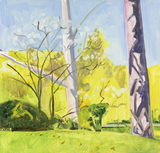 Lois Dodd, 'Tree Trunks and Dogwood', 2005, Alexandre Gallery
