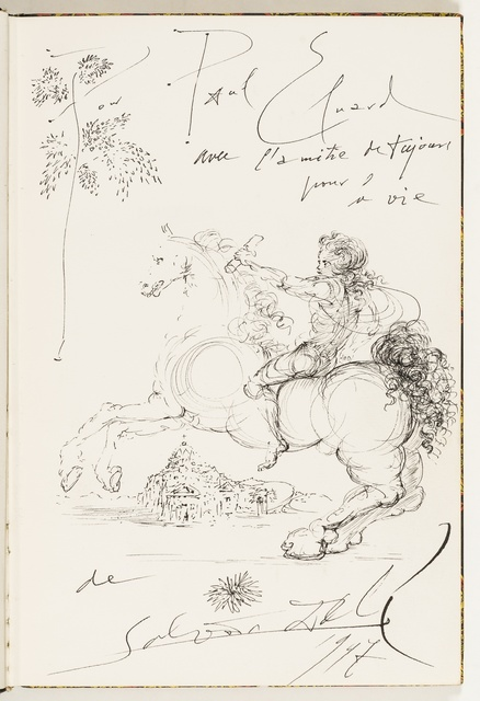 Salvador Dalí, 'Untitled (Messenger approaching Cadaques)', 1947, Drawing, Collage or other Work on Paper, Pen and black ink on a fly-leaf from 'Macbeth', Forum Auctions