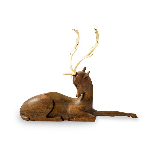 Werkstatte Hagenauer Wien, 'Werkstatte Hagenauer fallow deer brass and wood figurine ca. 1930', ca. 1930, Kunsthandel Kolhammer
