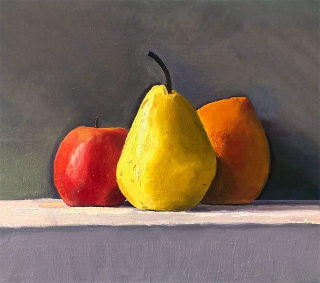 Dan McCleary, 'Apple, Pear, Grapefruit', 1.10.20, Painting, Oil on canvas, Craig Krull Gallery