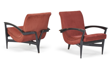 Style of Monteverdi Young, Pair of lounge chairs, enameled wood, upholstery