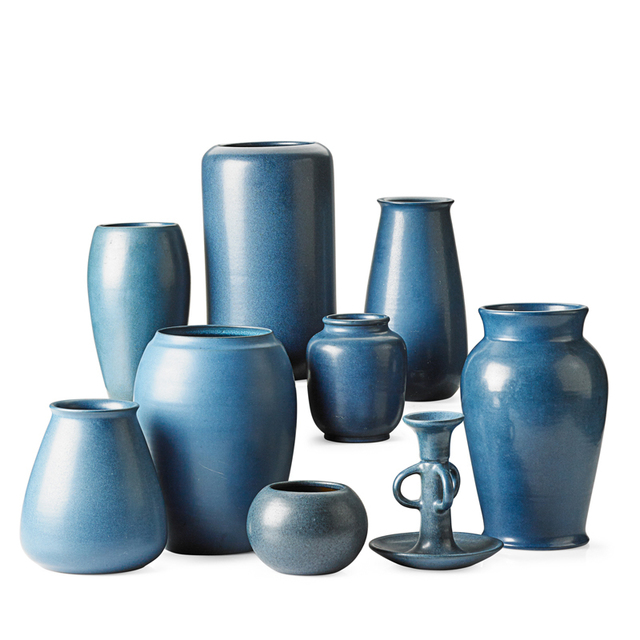 Marblehead Pottery, 'Eight Blue Vases And One Candlestick, Marblehead, MA', Early 20th C., Rago/Wright