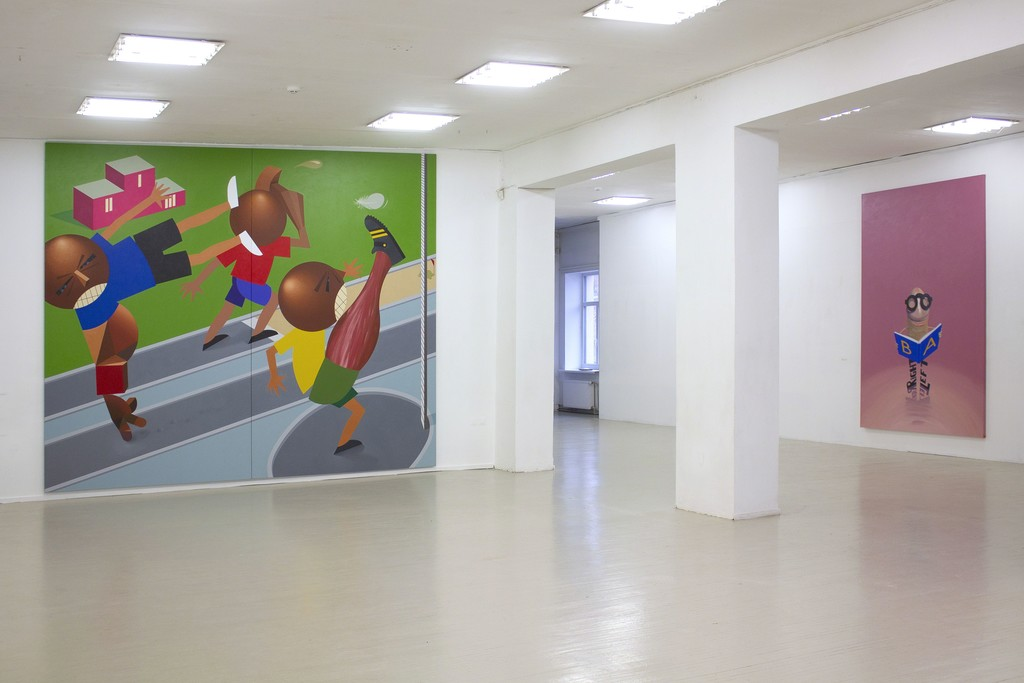 """Fragment of exhibition """"Družba"""". On the left: Kaido Ole, """"Baltic Match"""". 2016. Oil and acrylic on canvas, 330 x 390 cm. On the right: Kaido Ole, """"Freak with Book"""". 2014. Oil and acrylic on canvas, 280 x 190 cm."""