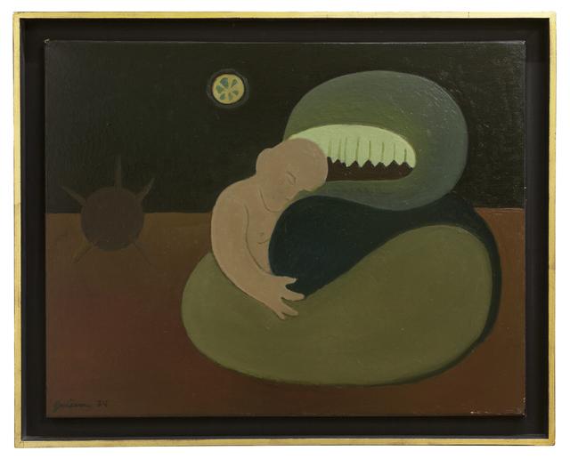 Emilia Gutiérrez, 'El monstro y el niño', 1974, Painting, Oil on canvas, Cosmocosa