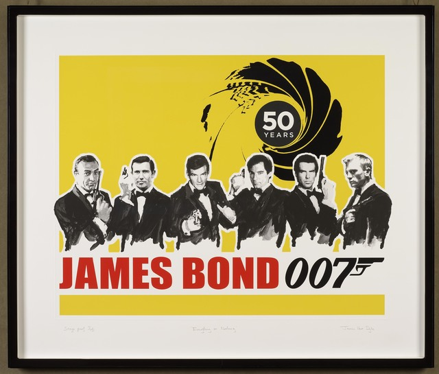 James Hart Dyke, 'Everything or Nothing – 50 Years of James Bond: Yellow 	', 2012, Print, Screen Print onto Somerset Tub sized 410gsm paper,  With a Satin and UV Glaze and a blind emboss border, DELAHUNTY