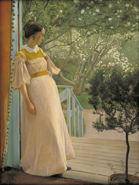 , 'At the French Windows. The Artist's Wife ,' 1897, Statens Museum for Kunst