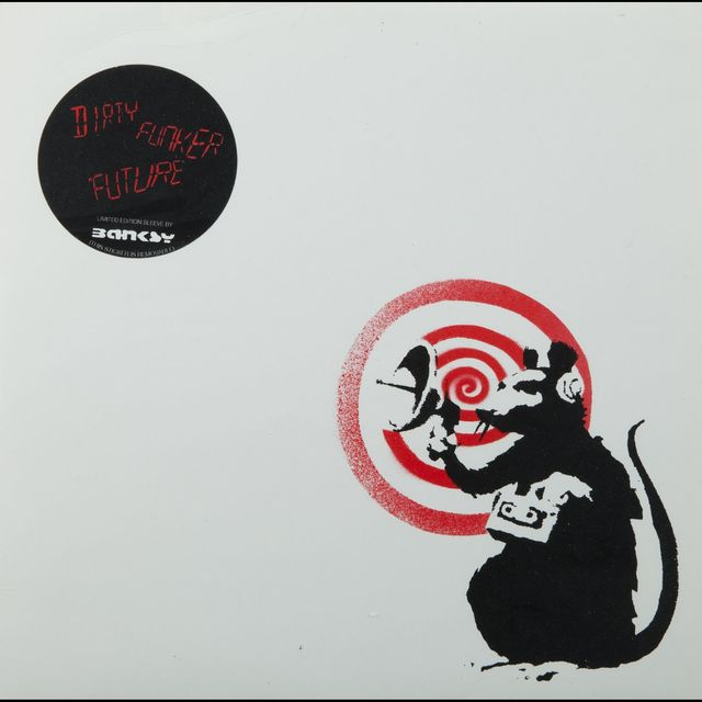 "Banksy, '""Future"" (Radar Rat) Dirty Funker album cover (White)', 2007, Dope! Gallery"
