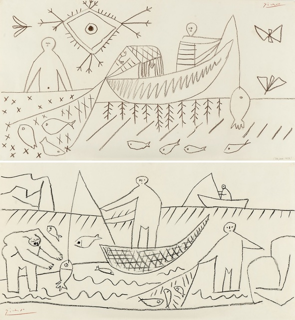 Pablo Picasso, 'Fisherman (Recto/Verso)', 1957, Omer Tiroche Gallery