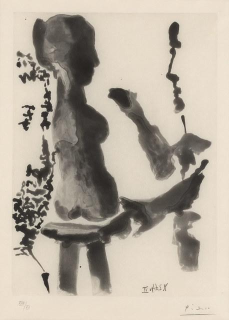 Pablo Picasso, 'SCULPTEUR DEVANT SA SELLETTE, AVEC UN SPECTATEUR BARBU (B. 1191; SEE C. BOOKS 136)', 1966, Doyle