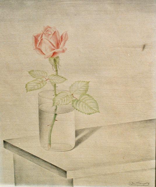 "Josef Mangold, '""Rose im Wasserglas""', ca. 1928, Art 1900"