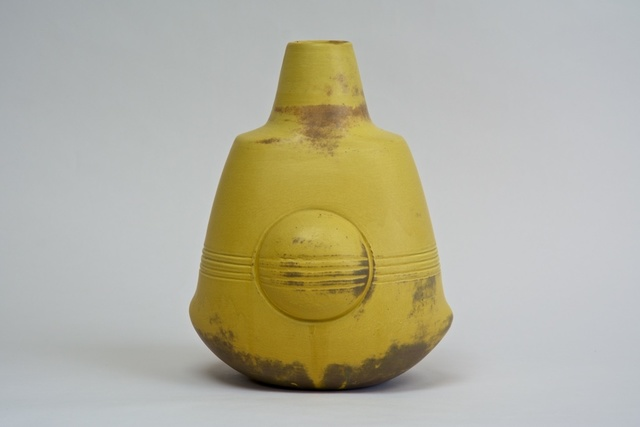 , 'Sculptural Vase with Lines (yellow; thrown and assembled),' 2014, Nathalie Karg Gallery