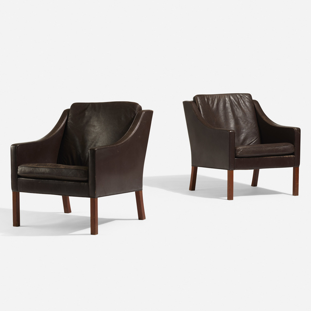 Börge Mogensen, 'Lounge chairs, pair', 1963, Design/Decorative Art, Leather, stained oak, Rago/Wright