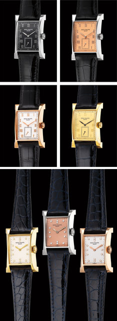 Patek Philippe, 'A very rare collection of 4 men's and 3 ladies' rectangular commemorative limited edition wristwatches with Certificates, Attestations, COSC certifications, and special group presentation box with medal, made to commemorate the inauguration of Patek Philippe new Geneva workshop', 1997, Phillips
