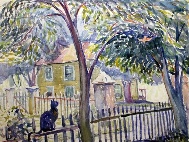 , 'Cat Watching Bird,' 1924, Kiechel Fine Art