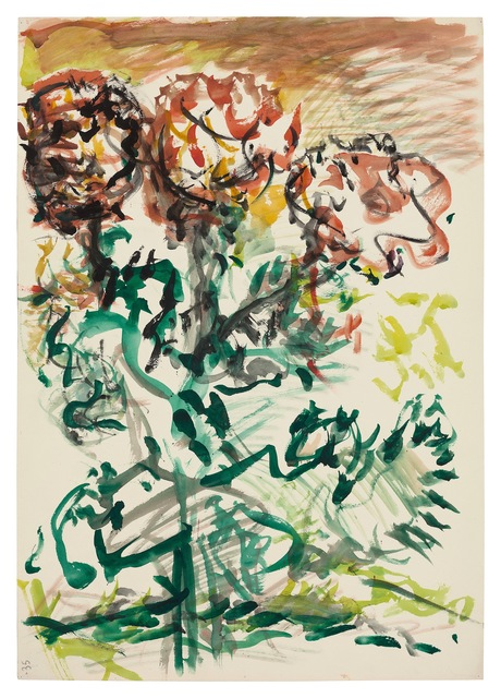 Fritz Ascher, 'Flowers', undated, Drawing, Collage or other Work on Paper, Black ink and watercolor on paper, New York Studio School