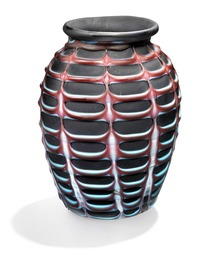 """""""Fenicio"""". Vase of frosted black glass. Decorated with pattern in relief of blue and red frosted glass."""
