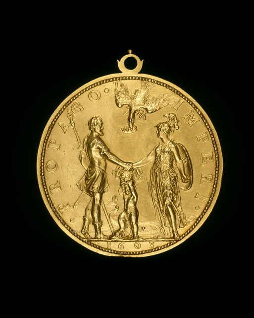 Guillaume Dupré, 'Louis XIII as Dauphin between Henri IV as Mars and Marie as Pallas [reverse]', 1603, Sculpture, Gilt bronze//with loop, National Gallery of Art, Washington, D.C.