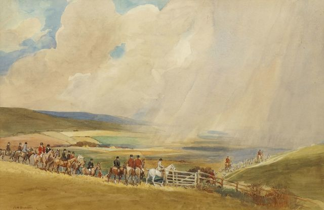 Robert Hugh Buxton, 'Rain on the South Downs', Painting, Watercolour and pencil on paper, Roseberys