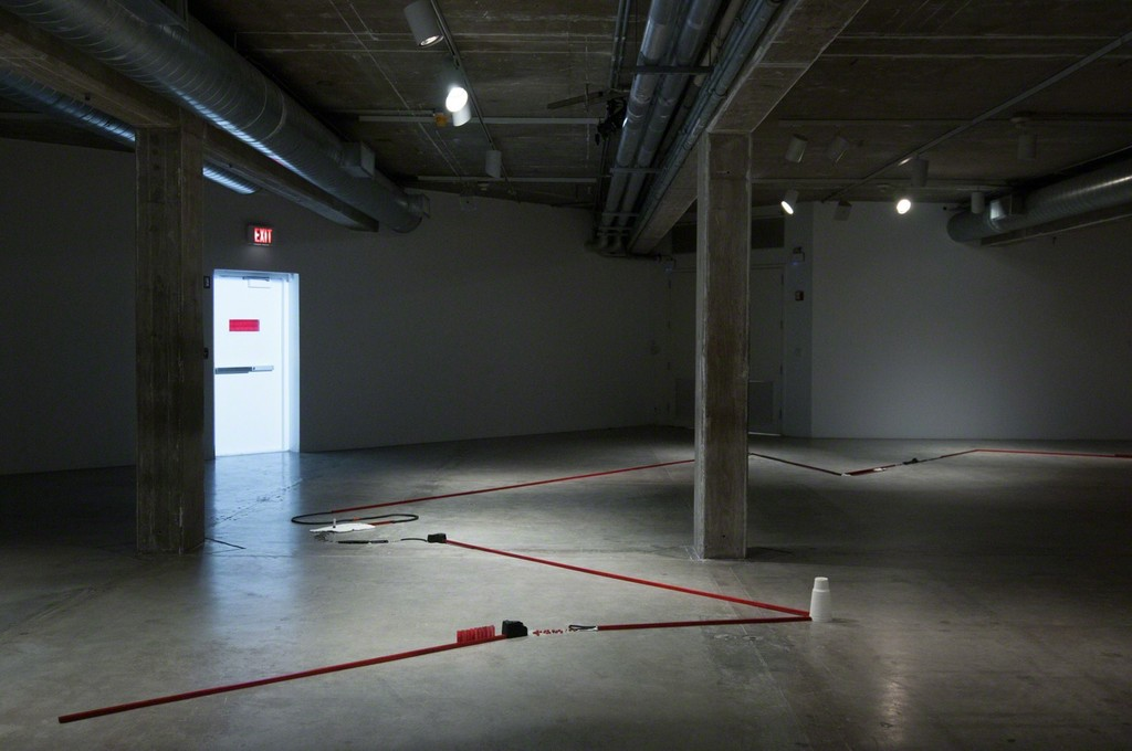 MPA, Long Line and Exit Door, 2015. THE INTERVIEW: Red, Red Future, Contemporary Arts Museum Houston, Houston, TX, 2016. Courtesy the artist and Contemporary Arts Museum Houston. Photo: Max Fields.