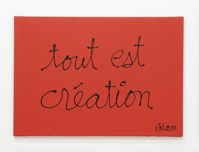 , 'Tout est création,' 2014, Lange + Pult