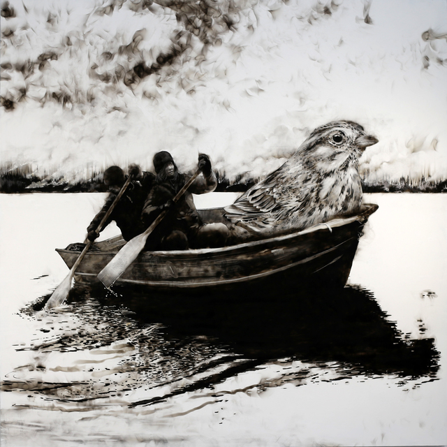 Steven Spazuk, 'Lifeboat 1', 2021, Painting, Soot from fire on gessoed panel, Adelson Galleries