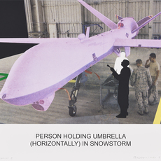 , 'The News: Person Holding Umbrella (Horizontally) in Snowstorm,' 2014, Galería La Caja Negra