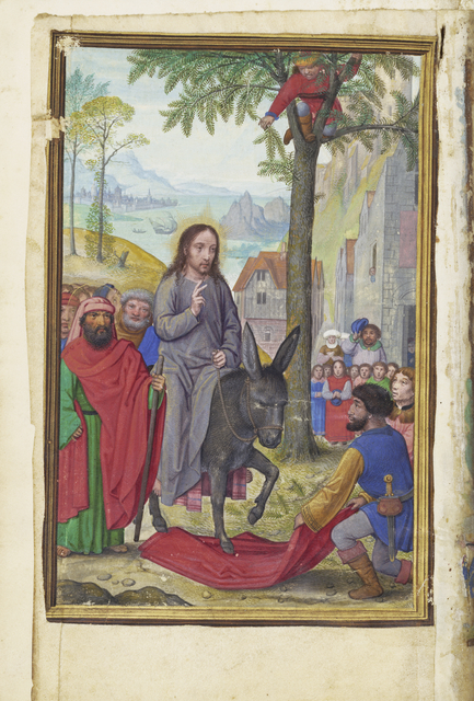 Simon Bening, 'The Entry into Jerusalem', 1525-1530, Tempera colors, gold paint, and gold leaf on parchment, J. Paul Getty Museum