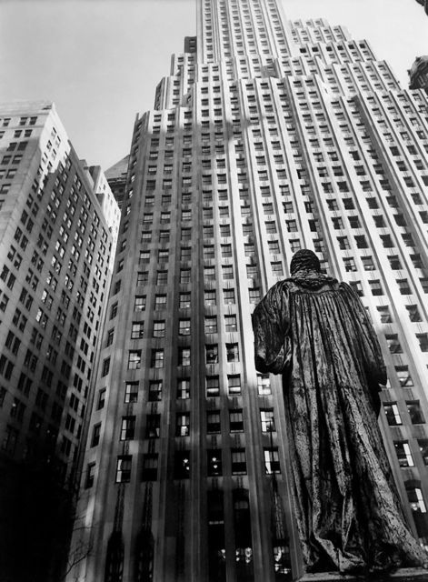 ", 'John Watts Statue from Trinity Churchyard (from the series ""Changing New York""),' 1938, Bookstein Projects"