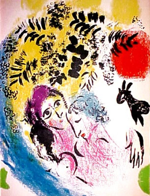 Marc Chagall, 'Lovers with Red Sun', 1960, Print, Lithograph printed in colors on wove paper, Galerie d'Orsay