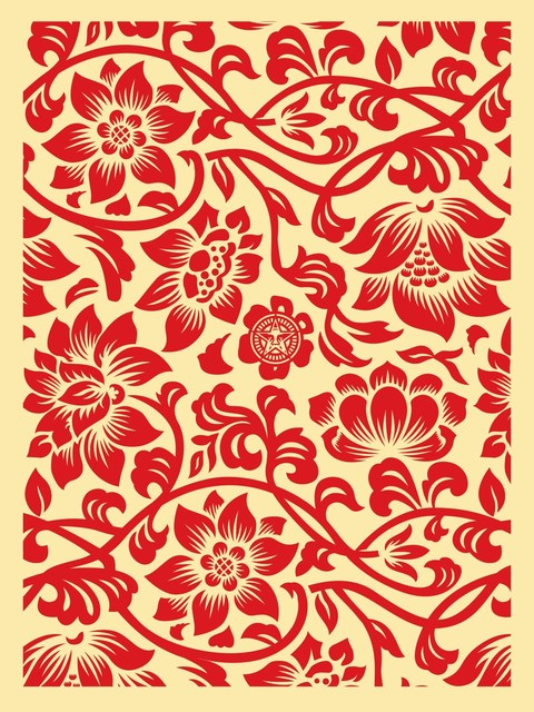 Shepard Fairey (OBEY), 'Floral takeover (cream/red)', 2017, Rudolf Budja Gallery