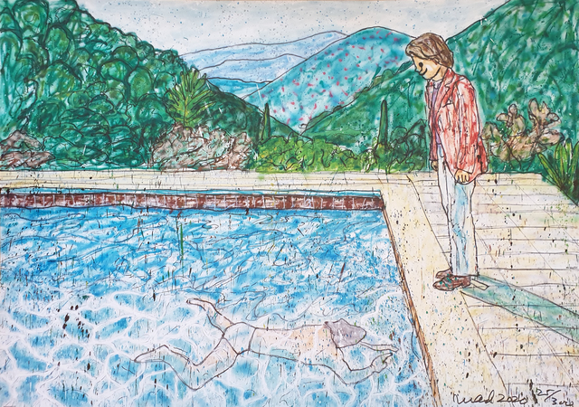 MADSAKI, 'Portrait of an Artist (pool with two figures) II (Inspired by David Hockney)_P', 2020, Print, Offset lithography, Art Works Paris Seoul Gallery