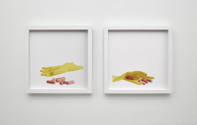 , 'glove and sausages, sausages plug glove,' 2015, Klowden Mann