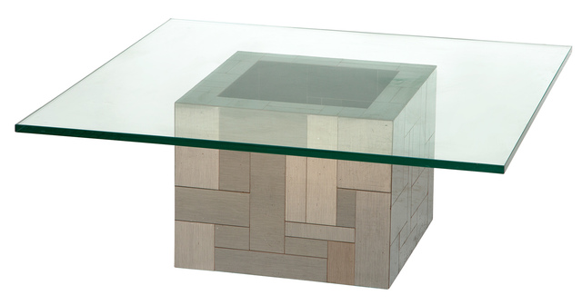 'Paul Evans Patinated Metal and Glass Low Cube Table', Doyle