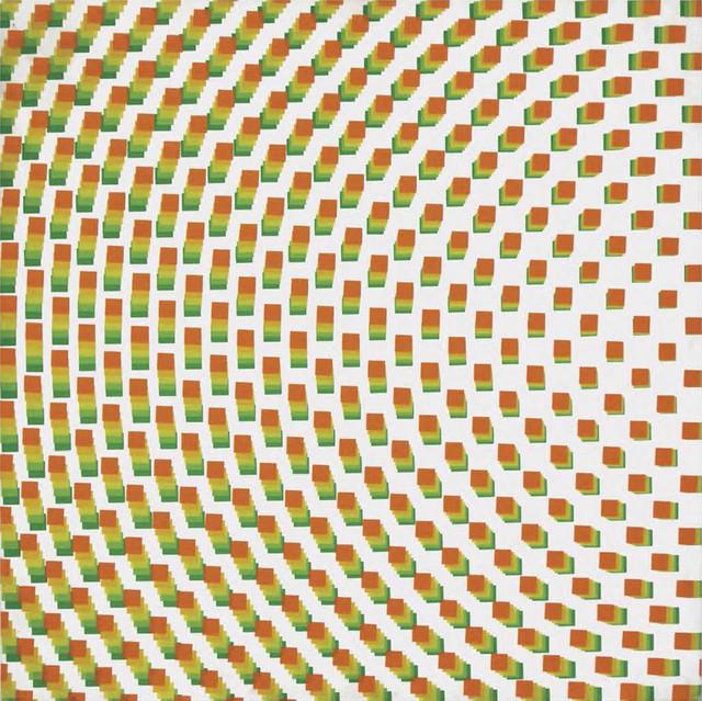 , 'Du vert à l'orange (5 trames de carrés réguliers pivotées sur le côté),' 1971, Dan Galeria