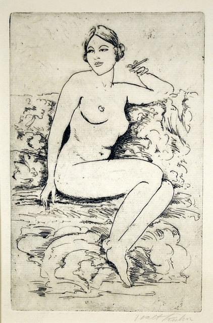 Walt Kuhn, 'Nude on Couch, Smoking', ca. 1920, Harris Schrank Fine Prints