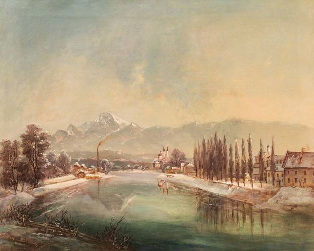 """, 'View over the city """"Villach"""",' ca. 1860, Galerie Kovacek"""