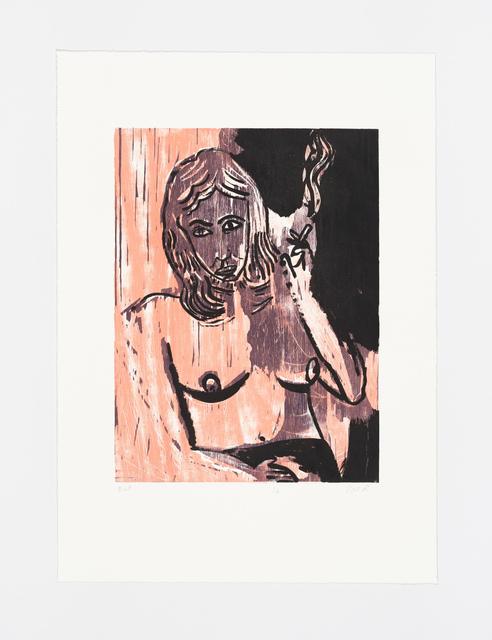 Tal R, 'Cigaret from the portfolio Girl drawing Lilly', 2016, Print, Woodcut, sugar lift aquatint, soft ground aquatint, drypoint, BORCH