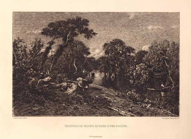 Theophile Narcisse Chauvel, 'Troupeau de Vaches au bord d'une Rivière', ca. 1870, Hans den Hollander Prints