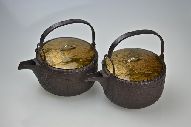 """, '19th Century Cast Iron Sake Ewers with Gold Lacquer Lids """"Seven Wise Men"""",' Edo period-19th Century, Galerie Kommoss"""
