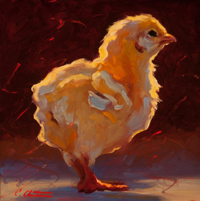 """, '""""Contemplative Chick"""" Painterly chick in bright yellows, Dark brown and red Background,' 2018, Eisenhauer Gallery"""