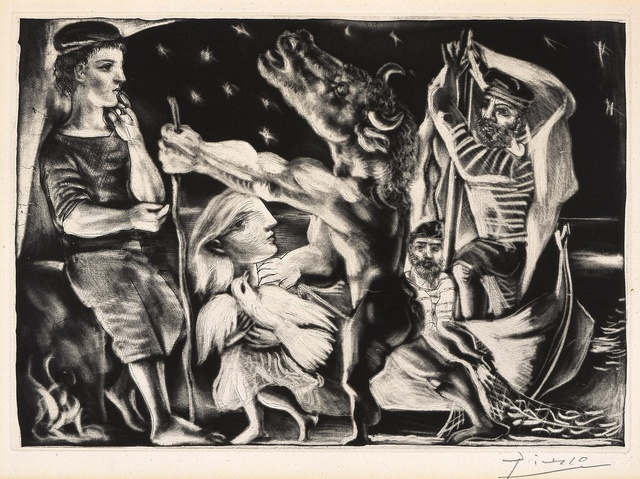 , 'Minotaure aveugle guidé par une fillette dans la nuit [Blind Minotaur Guided by a Young Girl in the Night],' 1933-1934, Blanton Museum of Art