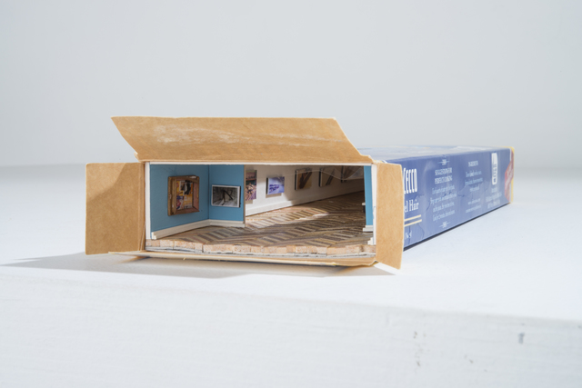 Kenji Sugiyama, 'Institute of Intimate Museums  Commercial Box (spaghetti)', 2015, Sculpture, Mixed media (picture of past works, paper, spaghetti box), Standing Pine