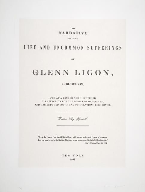 Glenn Ligon, 'Untitled, from the portfolio Narratives', 1993, San Francisco Museum of Modern Art (SFMOMA)