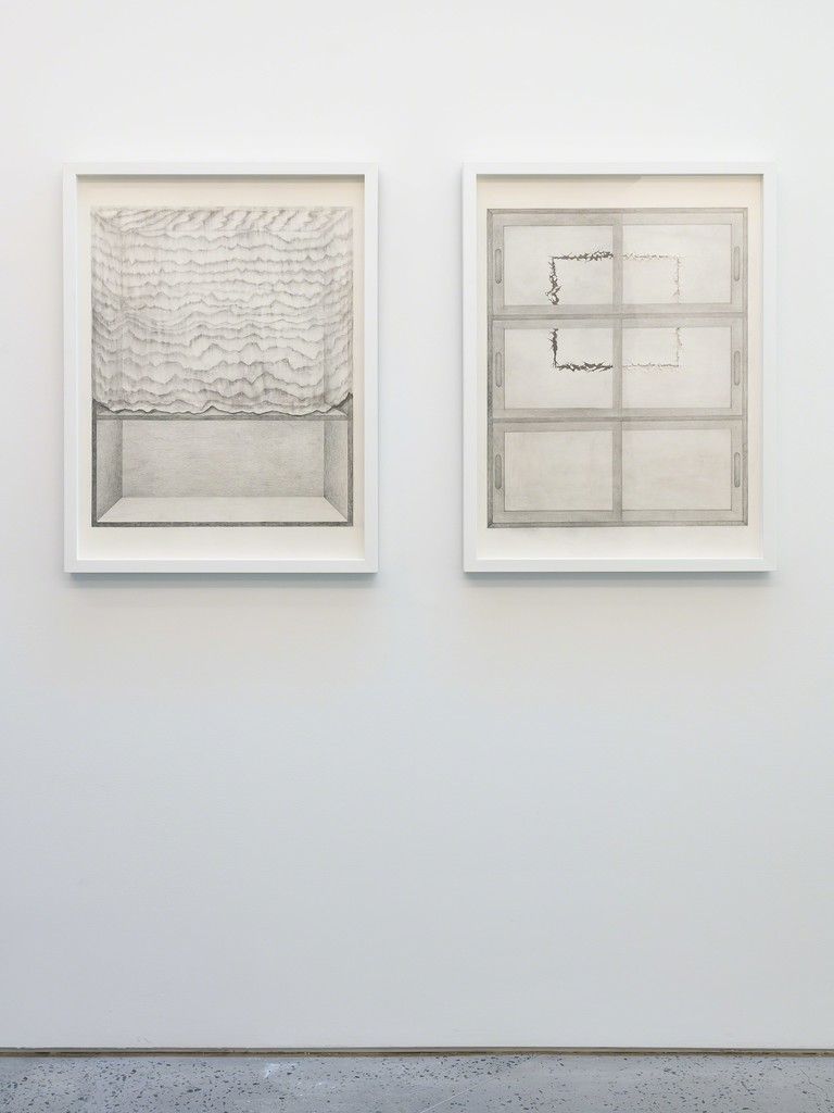 Seung Ae Lee, A Cabinet (Master Drawing), 2017, pencil on paper, 59.4h x 42w cm each, diptyque, installation view