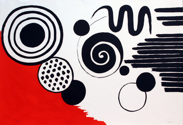 Alexander Calder, 'Composition with Black Spirals and Circle with Red', ca. 1970, Woodward Gallery