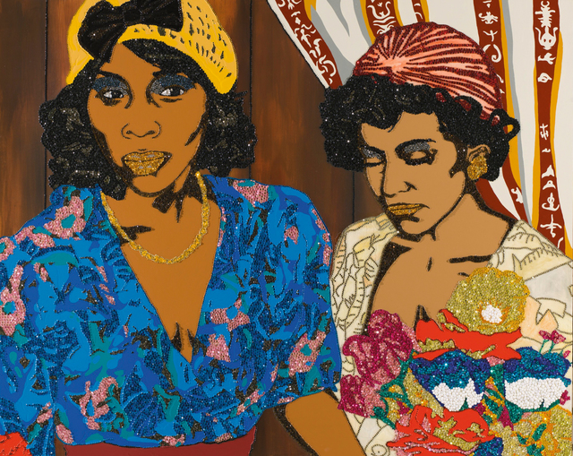 Mickalene Thomas, 'Tamika and Jessica with Flowers', 2008, Sotheby's: Contemporary Art Day Auction