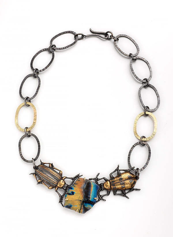 "Fabrizio Acquafresca, ""All We Need is Love,"" necklace, sterling silver, 18k gold, 23k gold keum bu, and spectrolite."